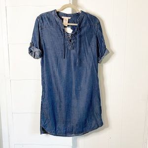 NWT Philosophy chambray lace front dress